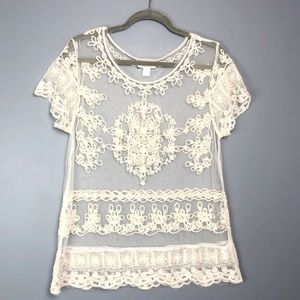 Garnet Hill Embroidered Lace See through Top Sz L